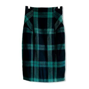 Diane Von Furstenberg Black & Green Plaid Skirt